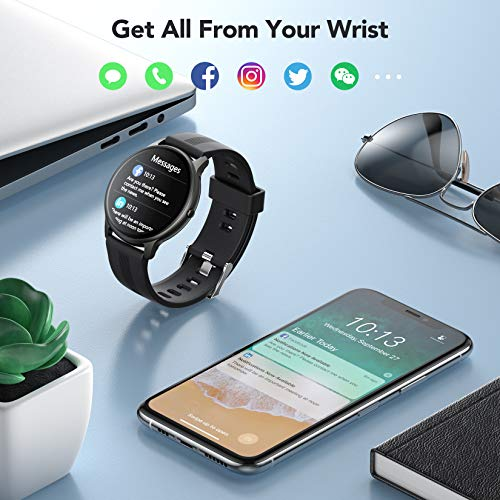 AGPTEK 1.3'' Full Touch Smart Watch-Black and Rose Gold 8
