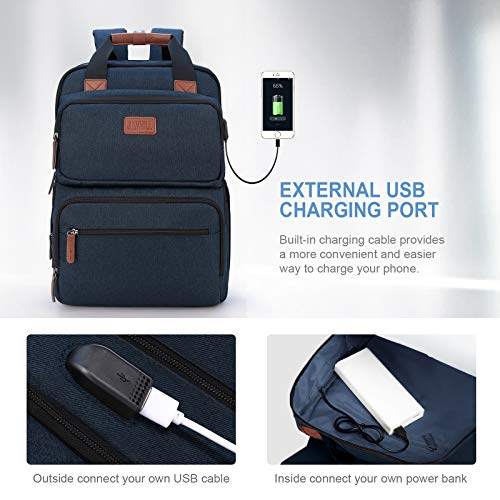 Business Laptop Backpack, Multipurpose College Rucksack Travel Casual Daypack with USB Charging Port for Women Men Fits 15.6 Inch Laptop 3