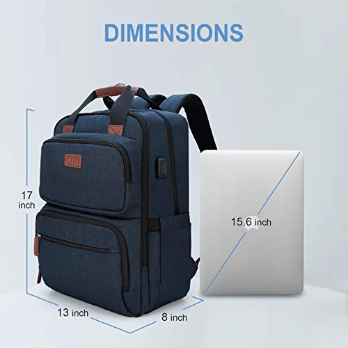 Business Laptop Backpack, Multipurpose College Rucksack Travel Casual Daypack with USB Charging Port for Women Men Fits 15.6 Inch Laptop 5