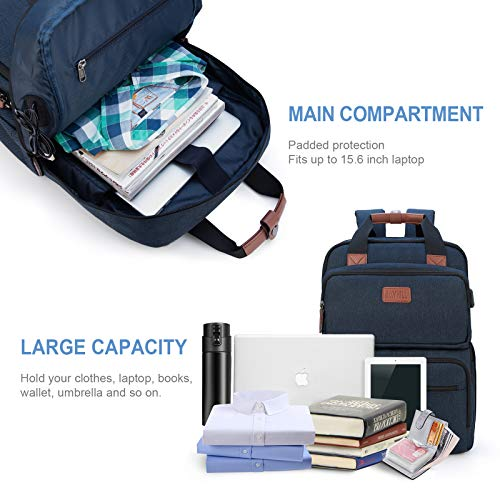 Business Laptop Backpack, Multipurpose College Rucksack Travel Casual Daypack with USB Charging Port for Women Men Fits 15.6 Inch Laptop 6