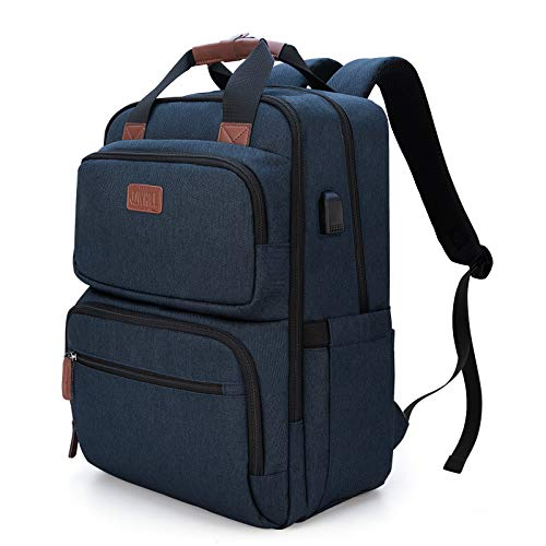 Business Laptop Backpack, Multipurpose College Rucksack Travel Casual Daypack with USB Charging Port for Women Men Fits 15.6 Inch Laptop 1