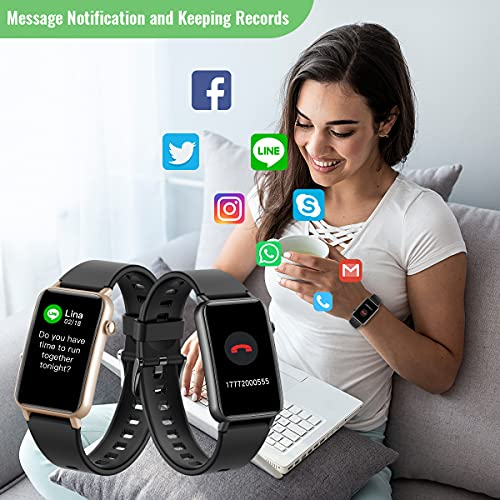 CatShin fitness watch for women, 1.57 inch fitness tracker with heart rate, pedometer, sleep monitor, music control, IP68 waterproof sports watch, stopwatch for women and men, for iOS and Android 7