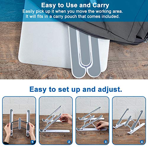 """Hasgard-Laptop-Stand-Portable-Adjustable-Riser-White-Holder, Elegant Foldable Laptop Stand, Compatible with 10-13.6"""" Laptop Computer, i(Mac), Tablet or Smartphone, ABS Plastic+Silicone 5"""