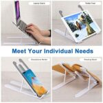 """Hasgard-Laptop-Stand-Portable-Adjustable-Riser-White-Holder, Elegant Foldable Laptop Stand, Compatible with 10-13.6"""" Laptop Computer, i(Mac), Tablet or Smartphone, ABS Plastic+Silicone 21"""