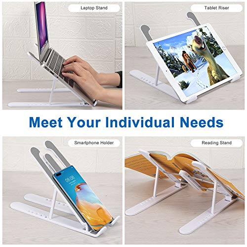 """Hasgard-Laptop-Stand-Portable-Adjustable-Riser-White-Holder, Elegant Foldable Laptop Stand, Compatible with 10-13.6"""" Laptop Computer, i(Mac), Tablet or Smartphone, ABS Plastic+Silicone 6"""