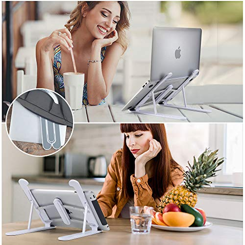 """Hasgard-Laptop-Stand-Portable-Adjustable-Riser-White-Holder, Elegant Foldable Laptop Stand, Compatible with 10-13.6"""" Laptop Computer, i(Mac), Tablet or Smartphone, ABS Plastic+Silicone 7"""