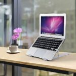 """Hasgard-Laptop-Stand-Portable-Adjustable-Riser-White-Holder, Elegant Foldable Laptop Stand, Compatible with 10-13.6"""" Laptop Computer, i(Mac), Tablet or Smartphone, ABS Plastic+Silicone 23"""