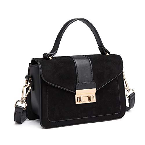 Miss Lulu Women Top Handle Bag Suede Handbags Pu Leather Shoulder Bag Elegant Modern For Work Shopping Travel Small 3