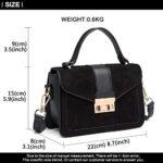 Miss Lulu Women Top Handle Bag Suede Handbags Pu Leather Shoulder Bag Elegant Modern For Work Shopping Travel Small 20