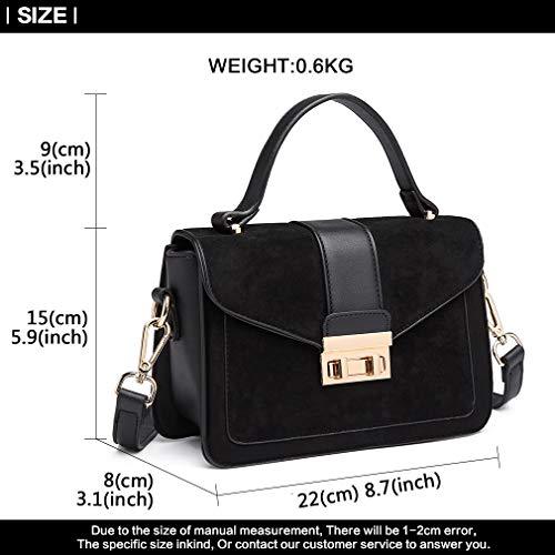 Miss Lulu Women Top Handle Bag Suede Handbags Pu Leather Shoulder Bag Elegant Modern For Work Shopping Travel Small 5
