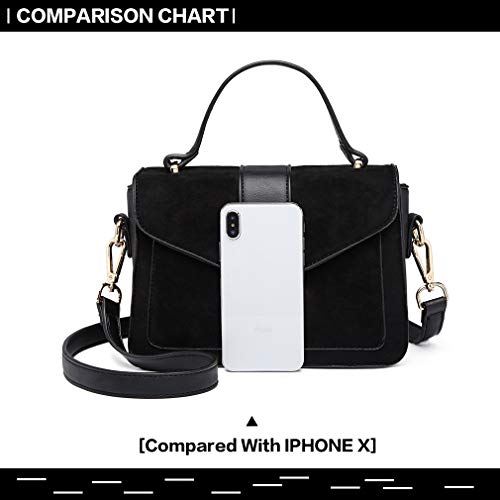 Miss Lulu Women Top Handle Bag Suede Handbags Pu Leather Shoulder Bag Elegant Modern For Work Shopping Travel Small 7
