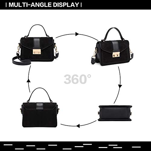Miss Lulu Women Top Handle Bag Suede Handbags Pu Leather Shoulder Bag Elegant Modern For Work Shopping Travel Small 8