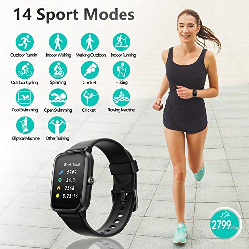 Smart Watch, AKWLOVY GPS Integrated Fitness Tracker Watch, IP68 Waterproof Heart Rate Monitoring Activity Tracking Sport Smartwatch for Ladies Men Women for Iphone Android IOS with Phone Notifications 4