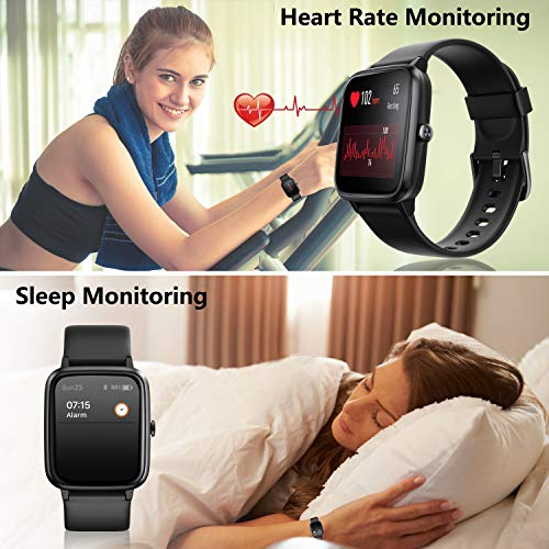Smart Watch, AKWLOVY GPS Integrated Fitness Tracker Watch, IP68 Waterproof Heart Rate Monitoring Activity Tracking Sport Smartwatch for Ladies Men Women for Iphone Android IOS with Phone Notifications 6