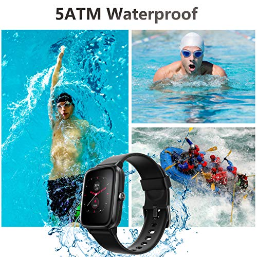 Smart Watch, AKWLOVY GPS Integrated Fitness Tracker Watch, IP68 Waterproof Heart Rate Monitoring Activity Tracking Sport Smartwatch for Ladies Men Women for Iphone Android IOS with Phone Notifications 7