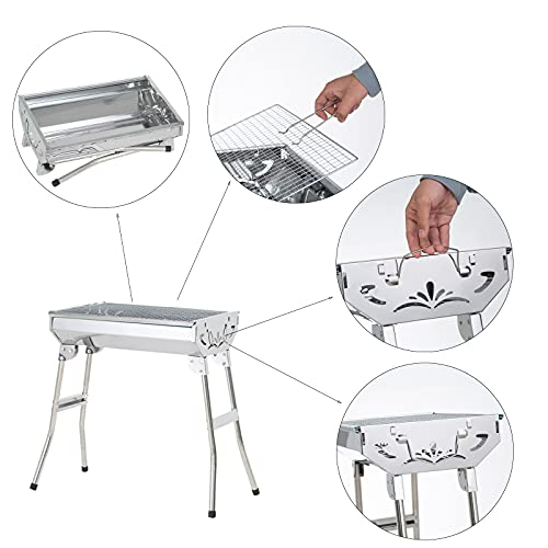 Stainless Steel BBQ Grills Barbecue Smoker Charcoal Folding Portable Family Garden Outdoor Cooking Picnics Camping Backyard Party for 3-6 People 3