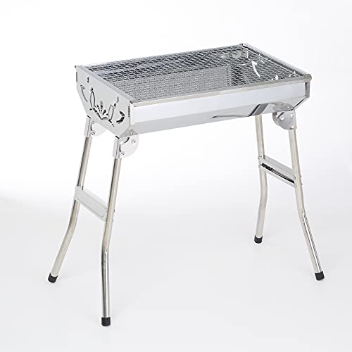 Stainless Steel BBQ Grills Barbecue Smoker Charcoal Folding Portable Family Garden Outdoor Cooking Picnics Camping Backyard Party for 3-6 People 4