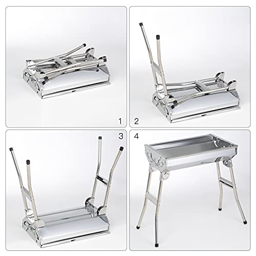 Stainless Steel BBQ Grills Barbecue Smoker Charcoal Folding Portable Family Garden Outdoor Cooking Picnics Camping Backyard Party for 3-6 People 7