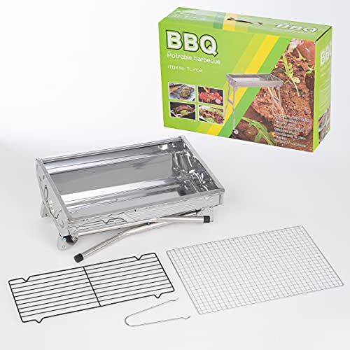 Stainless Steel BBQ Grills Barbecue Smoker Charcoal Folding Portable Family Garden Outdoor Cooking Picnics Camping Backyard Party for 3-6 People 8