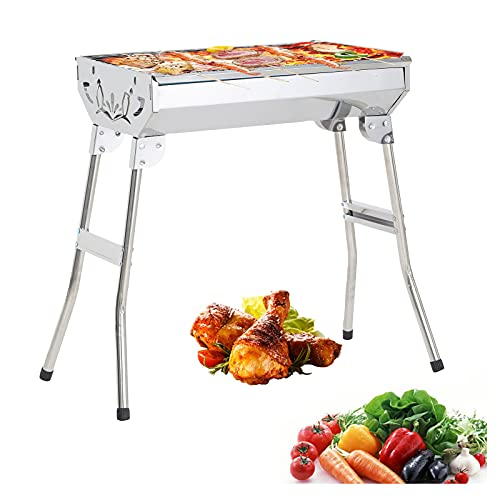 Stainless Steel BBQ Grills Barbecue Smoker Charcoal Folding Portable Family Garden Outdoor Cooking Picnics Camping Backyard Party for 3-6 People 1