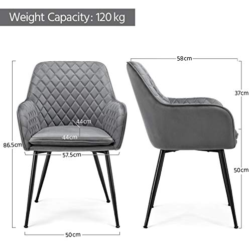 Yaheetech Modern Gray 6pcs Dining Room Chairs Fabric Accent Chairs Upholstered Tub Chairs for Counter Desk or Table Home Kitchen 4