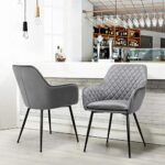 Yaheetech Modern Gray 6pcs Dining Room Chairs Fabric Accent Chairs Upholstered Tub Chairs for Counter Desk or Table Home Kitchen 28