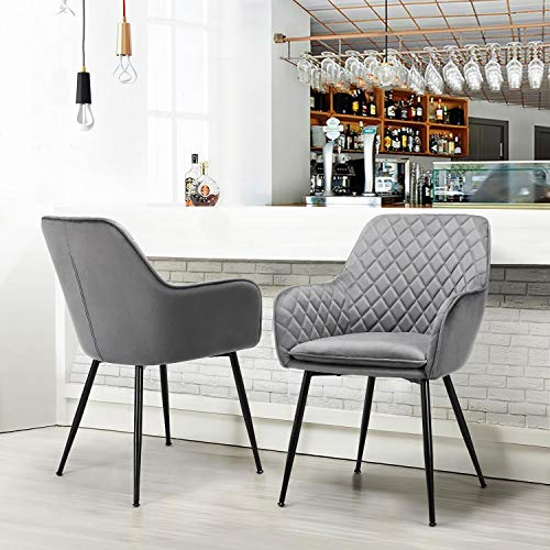 Yaheetech Modern Gray 6pcs Dining Room Chairs Fabric Accent Chairs Upholstered Tub Chairs for Counter Desk or Table Home Kitchen 9