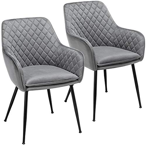 Yaheetech Modern Gray 6pcs Dining Room Chairs Fabric Accent Chairs Upholstered Tub Chairs for Counter Desk or Table Home Kitchen 1