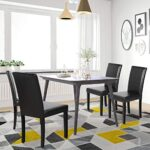 Yaheetech Set of 4 Brown Dining Chairs Modern High Back PU Leather Padded Seat w/Adjustable Solid Wooden Legs Home/Restaurant/Kitchen 22