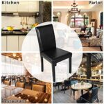Yaheetech Set of 4 Brown Dining Chairs Modern High Back PU Leather Padded Seat w/Adjustable Solid Wooden Legs Home/Restaurant/Kitchen 29