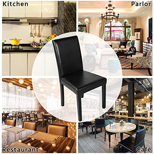 Yaheetech Set of 4 Brown Dining Chairs Modern High Back PU Leather Padded Seat w/Adjustable Solid Wooden Legs Home/Restaurant/Kitchen 10